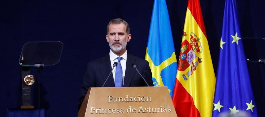 El rey Felipe VI pronuncia su discurso en la ceremonia de los Princesa de Asturias.
