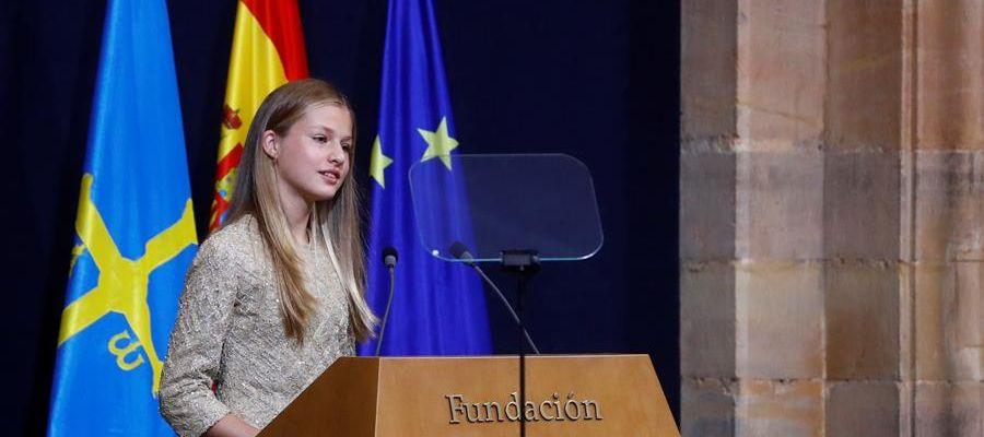 La princesa Leonor, durante su discurso en los Premios Princesa de Asturias.