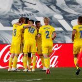 El Cádiz celebra un gol ante el Madrid