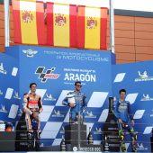 Los pilotos españoles Alex Márquez, Alex Rins y Joan Mir