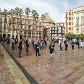 Momento de la concentración de peluquerías en Málaga
