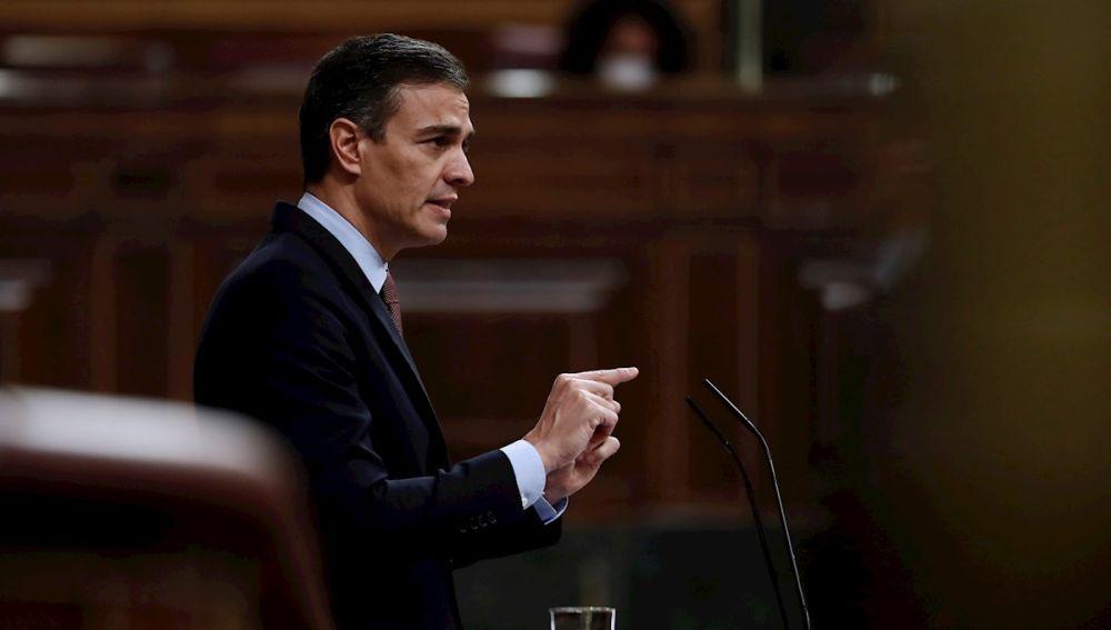 Pedro Sánchez durante una de las réplicas en la moción de censura