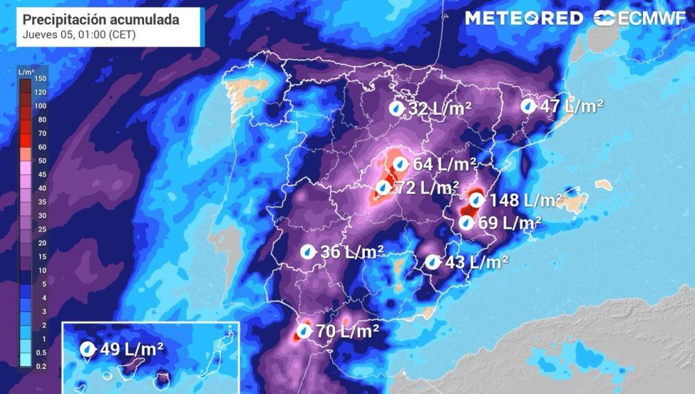 Simulación de lluvias acumuladas a la 01:00 horas del jueves