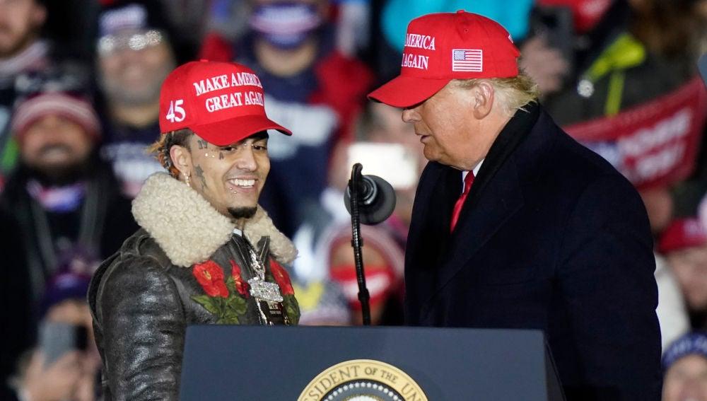El rapero Lil Pump acude a uno de los mítines finales de campaña de Donald Trump
