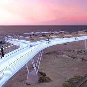 Una recreación virtual de la plataforma sobre las vías en Aguamarga