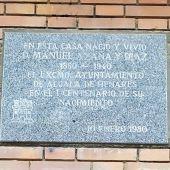 Placa de la casa familiar de Manuel Azaña en Alcalá de Henares