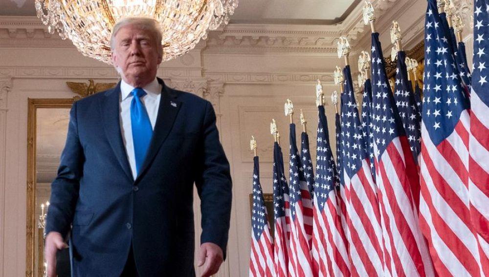 Donald Trump, en la Casa Blanca durante la jornada electoral.