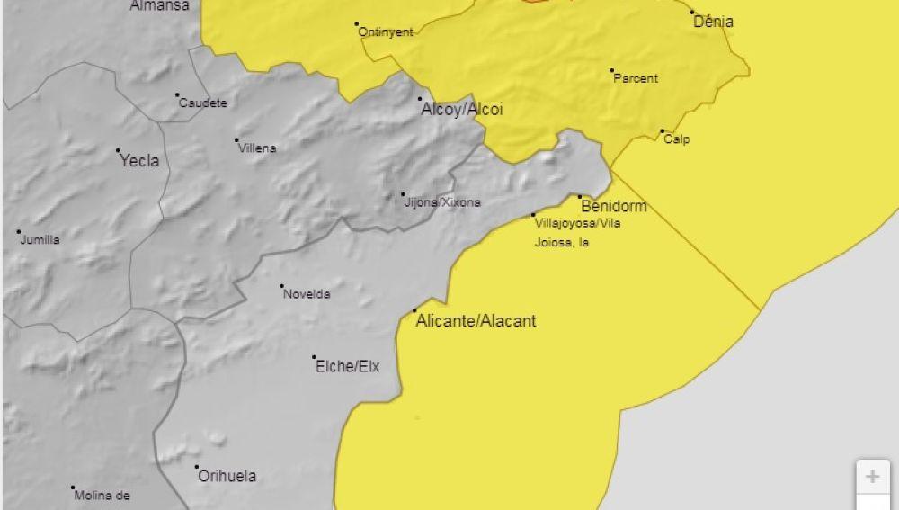 Mapa de alertas en la provincia de Alicante