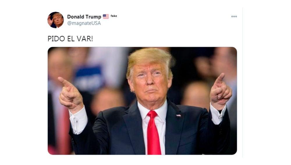 Tweet de la cuenta parodia de Trump @magnateUSA