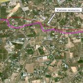 Plano del trazado de la conexión de la estación del AVE de Elche con el casco urbano.