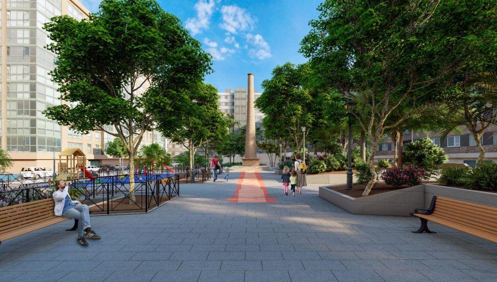 Simulación del aspecto que tendrá la nueva plaza Pilar Miró de Elche.