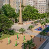 Simulación del nuevo aspecto que presentará la plaza Pilar Miró de Elche.