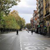 Calles casi vacías en Madrid