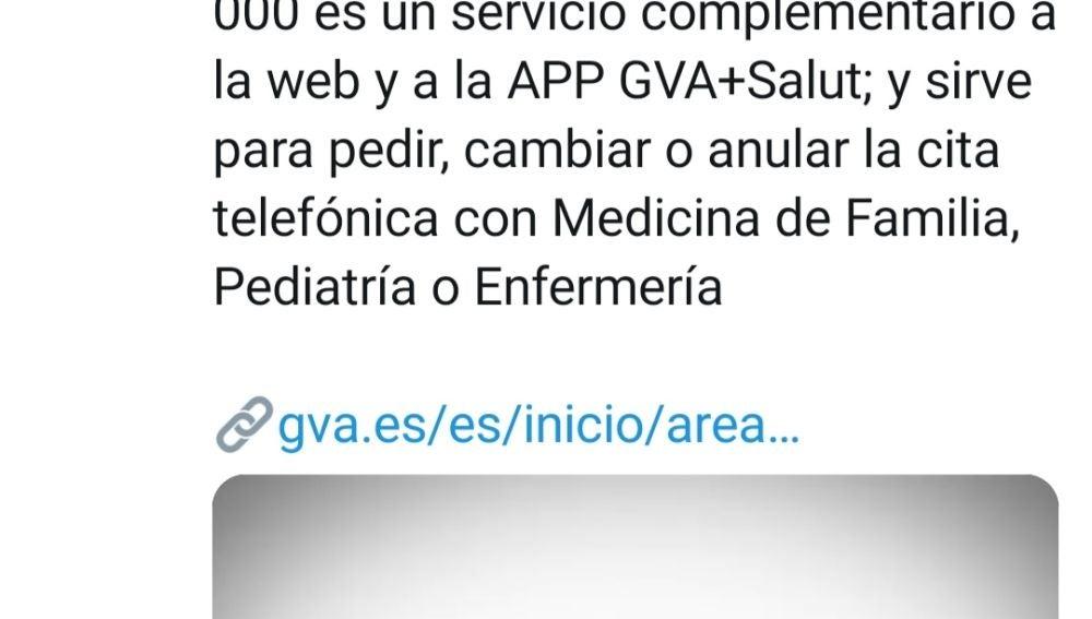 La Conselleria de Sanidad habilita un nuevo teléfono centralizado para contactar con el centro de salud
