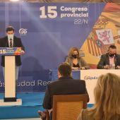 Miguel Ángel Valverde durante su  intervención en el Congreso Provincial del PP