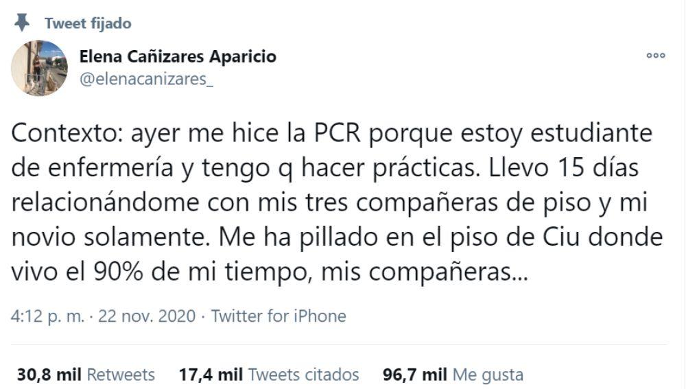 El tuit de la estudiante de enfermería Elena Cañizares