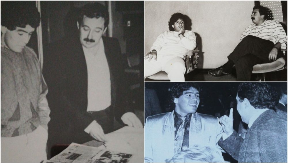 Maradona, con Enrique Ortego en diferentes eventos.