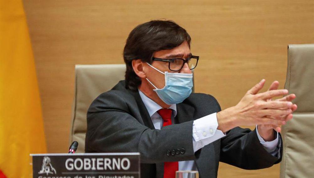 El ministro de Sanidad, Salvador Illa, durante su comparecencia ante la Comisión de Sanidad