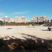 Estado de las obras para la construcción de los nuevos campos de césped artificial del polideportivo Altabix.