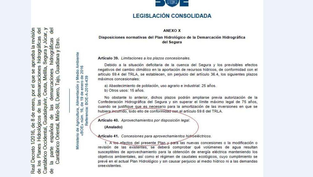 Artículo 40 Plan Hidrológico del Segura anulado por el Supremo