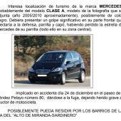 Solicitan la colaboración ciudadana para encontrar un 'Mercedes' que se dio a la fuga después de chocar con un motorista en Santander