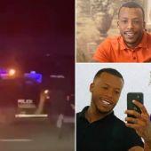 Momento de la persecución policial y dos fotografías recientes del sospechoso