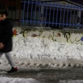 Exteriores de un colegio de Madrid repleto de nieve por el temporal Filomena.
