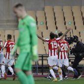 Los jugadores del Athletic celebran el tercer gol del equipo bilbaino  en la Supercopa de España.