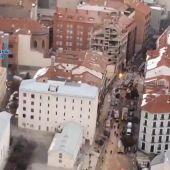 Un vídeo de la policía muestra cómo ha quedado el edificio de la calle Toledo en Madrid tras la explosión