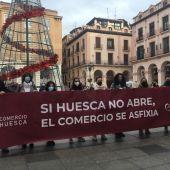 Manifestación del Comercio oscense contra las restricciones por la covid