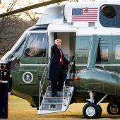 Donald Trump abandona la casa Blanca en helicóptero