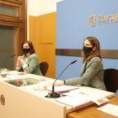 La vicealcaldesa, Sara Fernández, y la consejera María Navarro, en la presentación