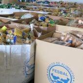Cajas de productos del Banco de Alimentos