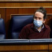 El vicepresidente segundo del Gobierno, Pablo Iglesias, en el Congreso de los Diputados