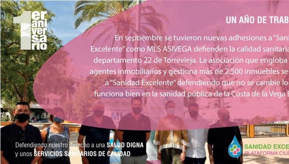 """La plataforma ciudadana """"Sanidad Excelente""""  cumple el primer aniversario desde su presentación oficial ante la ciudadanía del Sur de la Provincia de Alicante"""