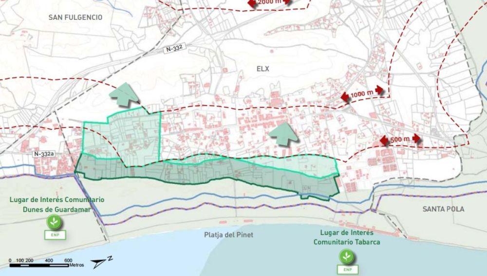 Plano de afección del PATIVEL en la pedanía de La Marina de Elche.