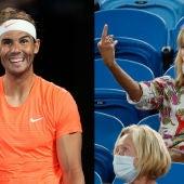 Una aficionada le dedica una peineta a Nadal en un partido del Open de Australia.