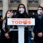Inés Arrimadas, en un mitin de Ciudadanos en Cataluña.