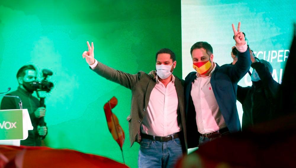 Santiago Abascal e Ignacio Garriga, durante un acto de Vox.