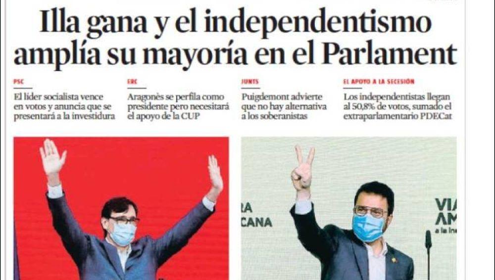 Portada de La Vanguardia 15 de febrero 2021
