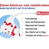 Zonas básicas de salud de la Comunidad de Madrid  con restricciones de movilidad