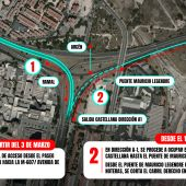 Plano de los cortes de tráfico ocasionados por las obras de remodelación del Nudo Norte.