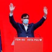 Salvador Illa celebra su victoria en votos en las elecciones catalanas