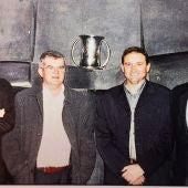 Rafa Bernabéu, Pepe García Parres, Víctor Martí y Juan Antonio Martínez, directivos del Club Voleibol Elche que lograron el título de campeones de Copa del Rey 2003 al frente del Club Voleibol Elche.