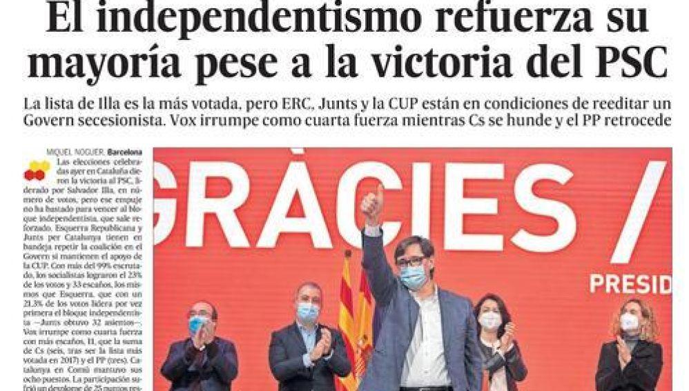 Portada de El País 15 febrero 2021
