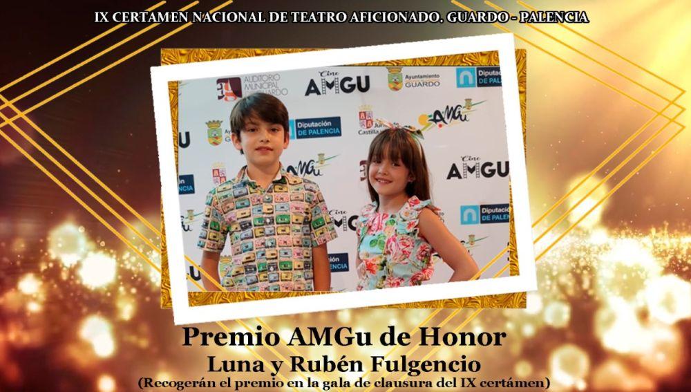 Los hermanos Luna y Rubén Fulgencio, AMGu de Honor de Teatro