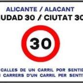Distintivo de 'Alicante Ciudad 30'