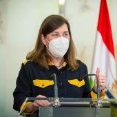 La consejera de Salud de La Rioja, Sara Alba, durante una rueda de prensa
