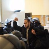 Pablo Hasél arrestado en la Universidad de Lleida el pasado martes 16 de febrero