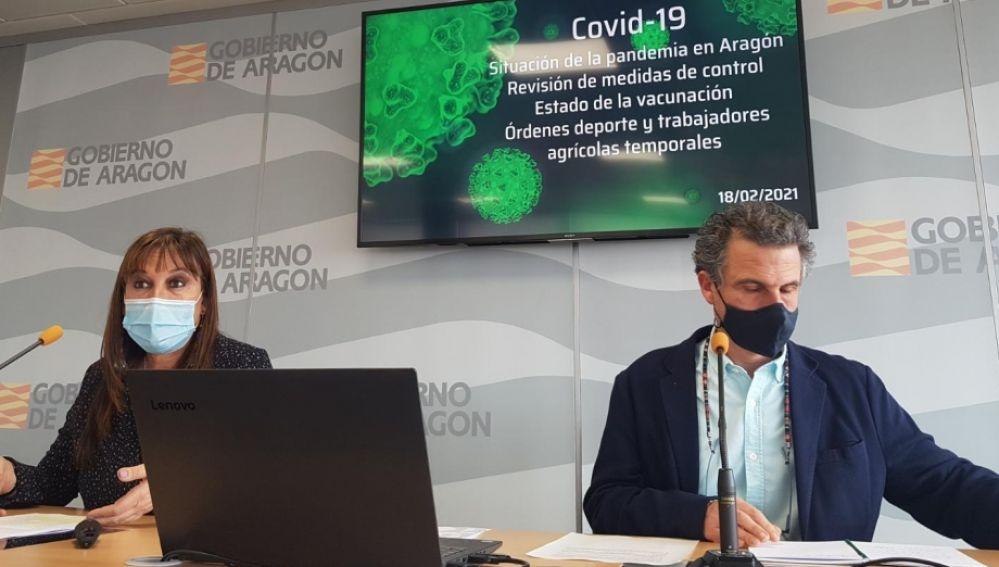 Francisco Falo y Sira Repollés, durante la rueda de prensa